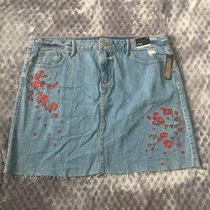 A.N.A Floral Embroidered Jean Skirt